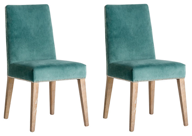 Chirens Velvet Dining Chairs, Turquoise, Set of 2