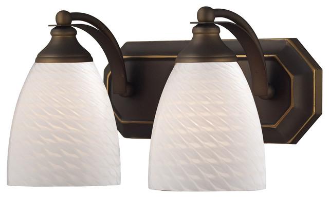 2 Light Vanity, Aged Bronze And White Swirl Glass