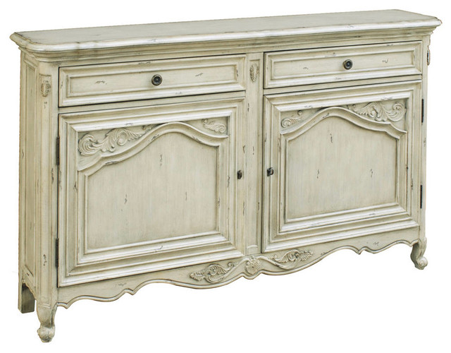 Carved Door Console, Antique White.