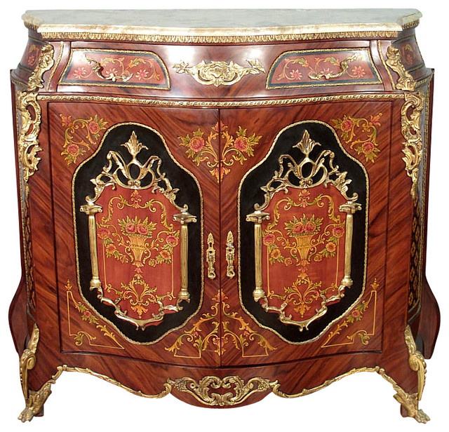 Mahogany French Rococo Marble Top Sideboard Cabinet Victorian Buffets And Sideboards