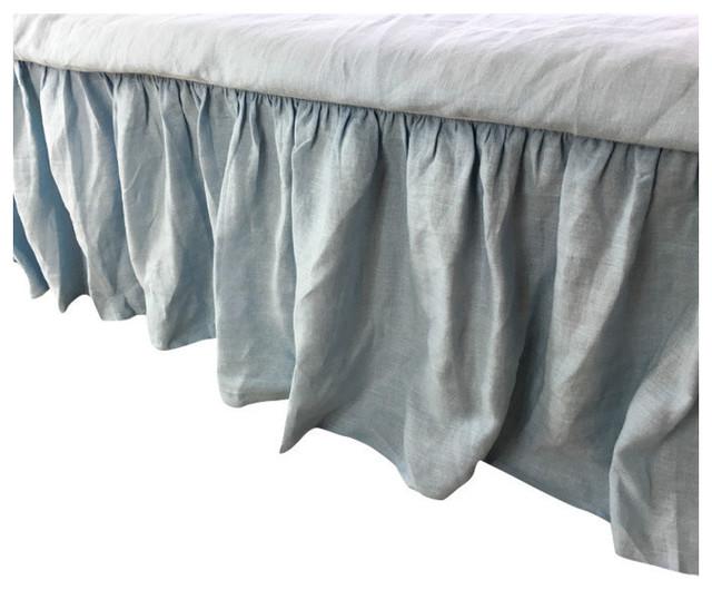 Grey linen king bed skirt : Blue linen bed skirt cal king quot drop california