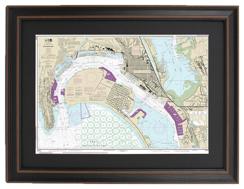 Poster Size Framed Nautical Chart, San Diego Bay