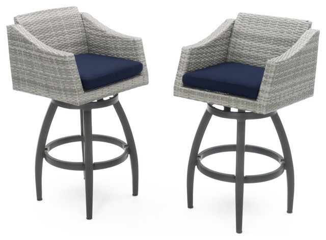 Cannes Swivel Bar Stools Set Of 2 Tropical Outdoor