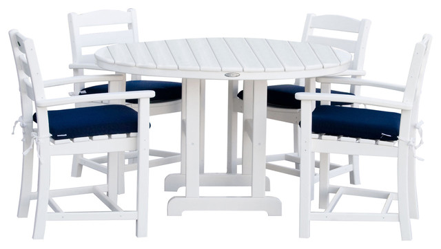 POLYWOOD La Casa Cafe 5 Piece Dining Set With Cushions, White/Navy