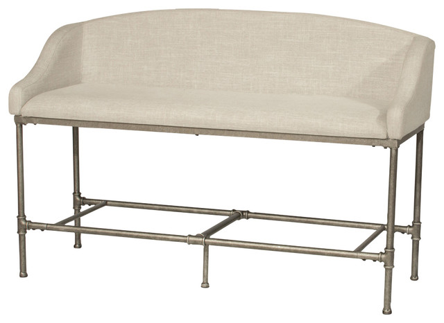 Dillon Counter Height Bench, Pewter, Woven Fabric.