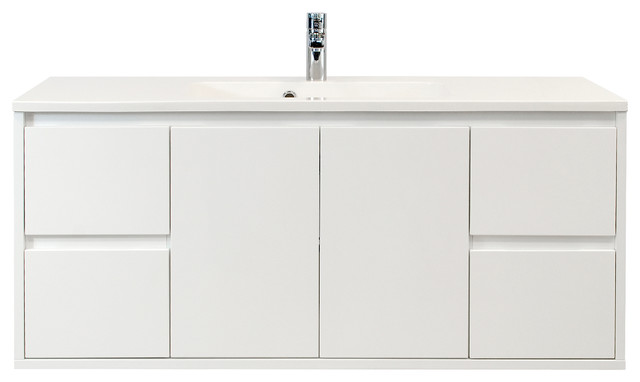 "Geomi White 4-Drawer Floating Bathroom Vanity, 47""."