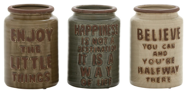 Ceramic Cutlery Jars Set of 3 Farmhouse Kitchen Canisters And Jars by