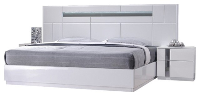 Superbe Palermo Modern Bedroom Set, White Lacquer, 5 Piece Set, Queen