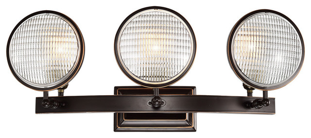 Cartweight 3-Light Oil Rubbed Bronze Vanity With Headlight Glass