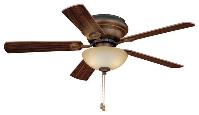 Expo 42 Flushmount Ceiling Fan, Aged Walnut.