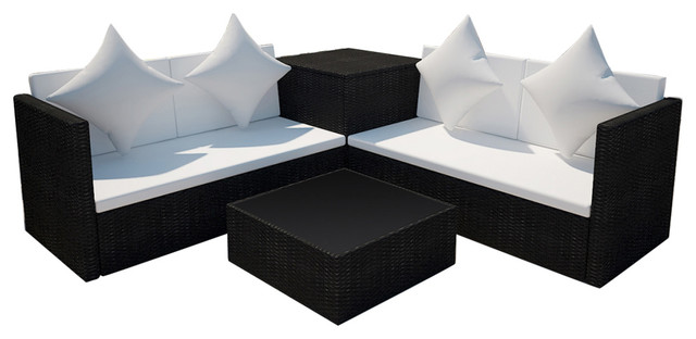 Rattan lounge set rund  vidaXL - VidaXL Lounge Set Poly Rattan, Black - View in Your Room ...