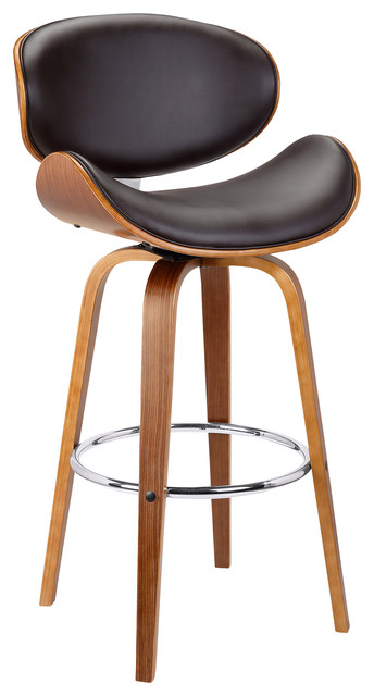 """Solvang 26"""" Mid-Century Swivel Counterstool, Brown Faux Leather With Walnut Wood"""