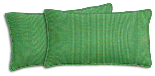 Sunbrella Volt Emerald Lumbar Pillow Set - Traditional - Outdoor Cushions And Pillows - by ...