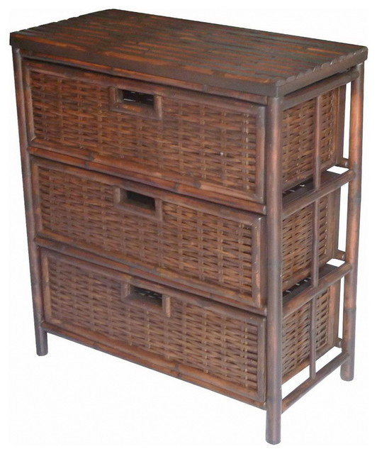 Bamboo 3 Door Chest Drawers, Espresso - Tropical - Accent Chests ...