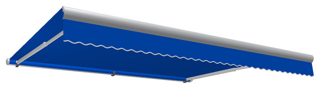 12&x27; Galveston Semi-Cassette Manual Retractable Awning, Bright Blue.