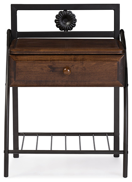 Jevenci metal and walnut wood 1 drawer nightstand antique for Wood and metal bedside table