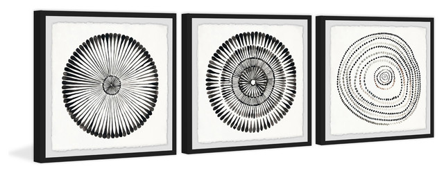 Triptych Art Black And White Line Drawings