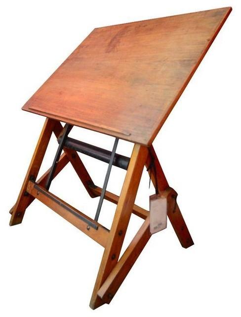Architects Desk french walnut architects desk c. 1920 - modern - desks and hutches