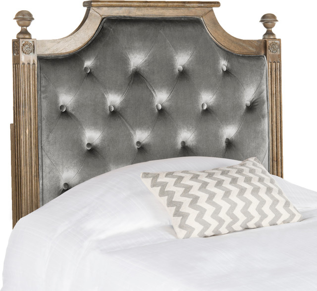 Safavieh Rustic Wood Tufted Headboard, Beige, Twin, Velvet ...