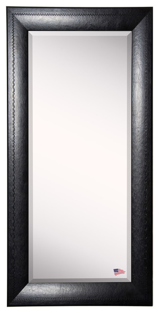 American Made Rayne Stitched Black Leather Extra Tall Floor Mirror.