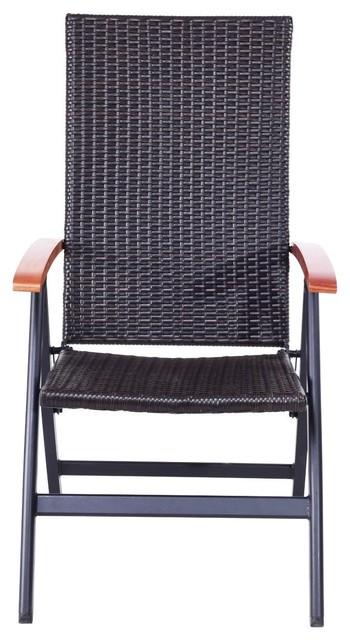 Modern Patio Adjustable Aluminum Folding Back Rattan Recliner Chair