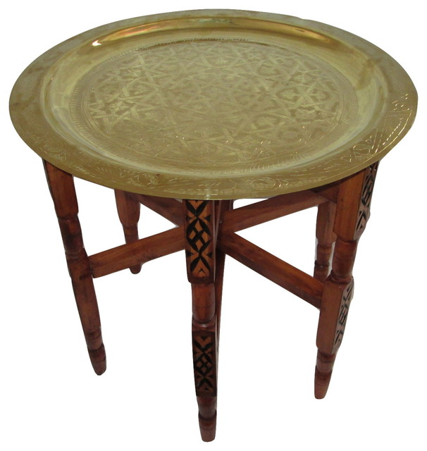 Moroccan Arabesque Engraved Carved Polished Brass Tray Top