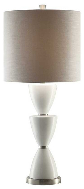 Morison Ceramic And Metal Table Lamp, 38.5  White And Brushed Nickel Finish.