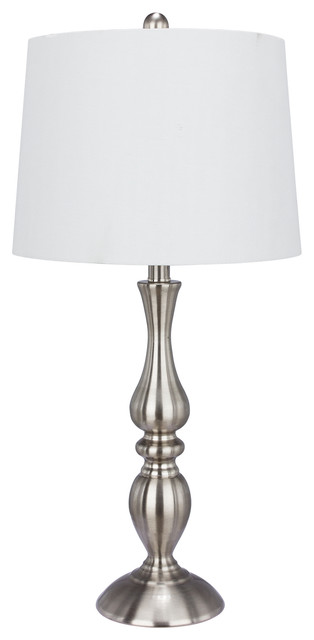 "Fangio Lighting 27"" Metal Table Lamp, Brushed Steel Finish"