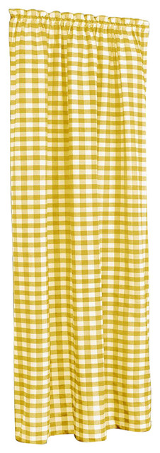 "Buffalo Check Window Curtain Panel, Yellow, 42""x84""."