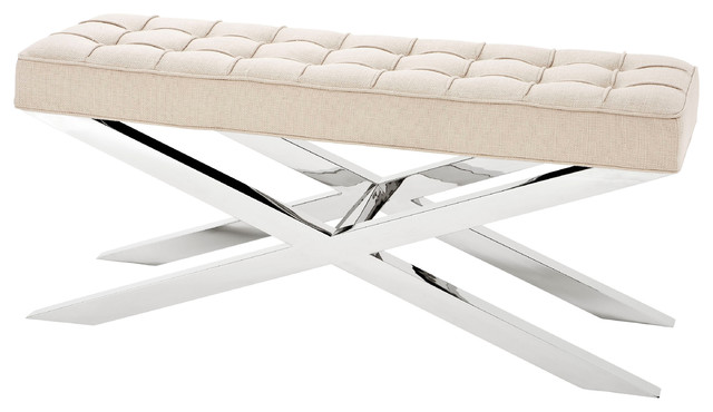 Beekman Modern Classic Ivory Tufted Stainless Steel Bench.