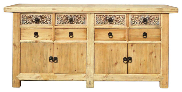 Consigned: Chinese Vintage Natural Finish Carving Sideboard Buffet Cabinet  Asian Buffets And