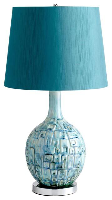 Jordan Teal Ceramic Table Lamp Contemporary Table Lamps By