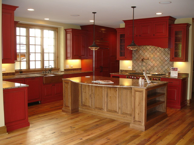 red painted kitchen cabinets rustic kitchen 25195
