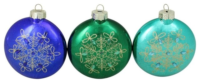 3 Piece Glitter Snowflake Blue And Green Disc Shaped Glass Disk Ornament Set Contemporary Christmas Ornaments By Northlight Seasonal