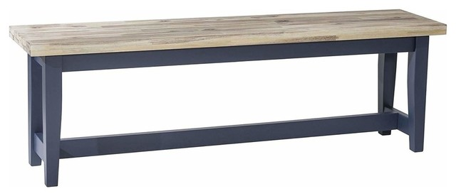 Traditional Dining Bench, Solid Wood With Navy Blue Finished Legs, Limed Seat