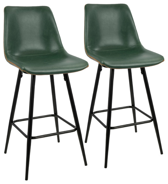 Durango Counter Stool With Black Frame And Green Vintage Pu Leather, Set Of 2, B.
