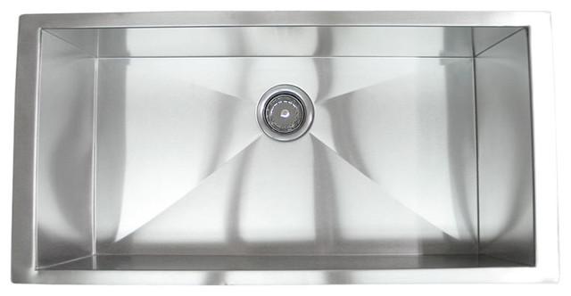 36 Stainless Steel Undermount Single Bowl Kitchen Sink Zero Radius