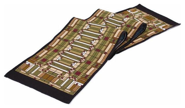 Frank Lloyd Wright Oak Park Skylight Tapestry Table Runner Craftsman Table  Runners