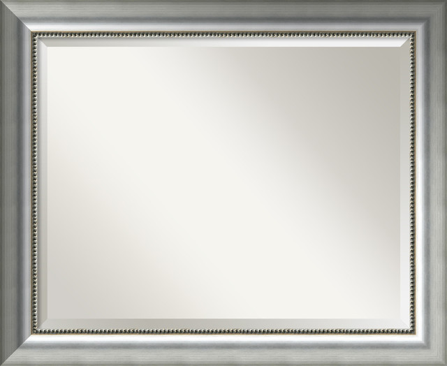 "Bathroom Mirror Lg,fits Standard 30-36"" Cabinet, Vegas Burnished Silver, 33""x27""."