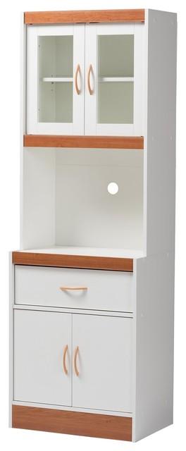 Baxton Studio Laurana Modern White and Cherry Kitchen Cabinet and Hutch