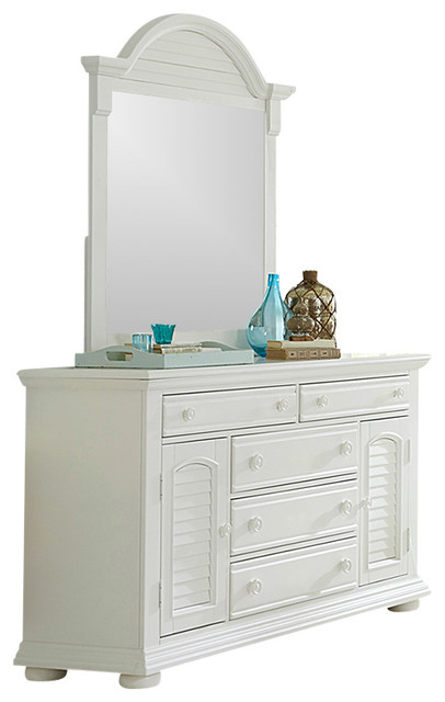 2 Door 5 Drawer Dresser And Mirror Solid Wood Oyster White