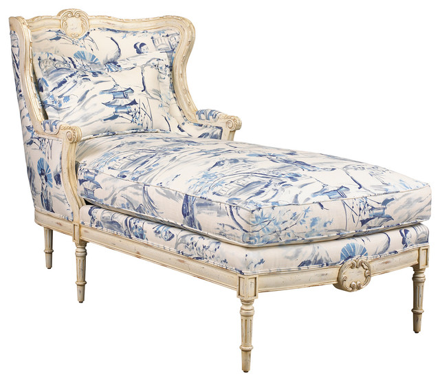 Bayonne French Country Blue Geisha Upholstered Chaise Lounge traditional-indoor-chaise-lounge-  sc 1 st  Houzz : upholstered chaise - Sectionals, Sofas & Couches