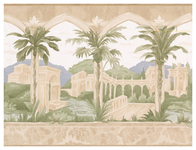 Prepasted Wallpaper Border Ancient Arcs Palace Palm Trees Vintage Wall Tropical By Euro Home Decor