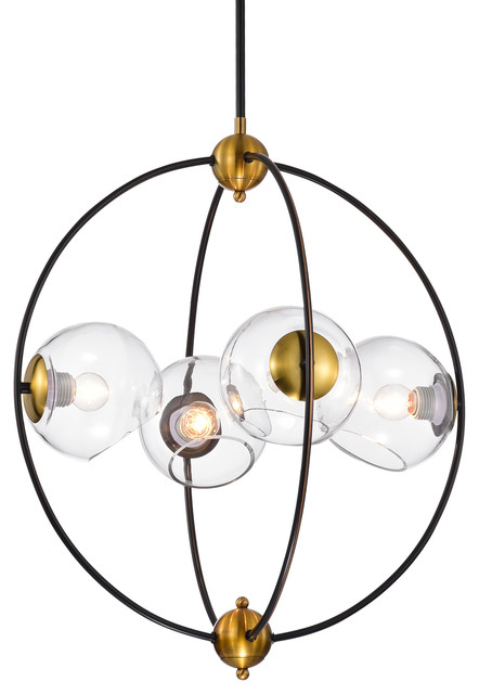 4-Light Sputnik Globe Orb Chandelier With Clear Glass