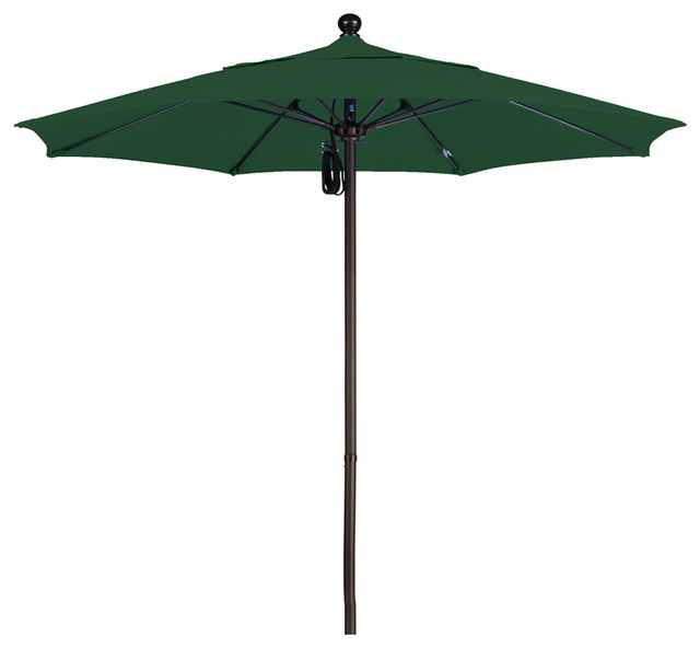 7.5 Foot Pacifica Fabric Aluminum Pulley Lift Patio Umbrella With Bronze Pole.
