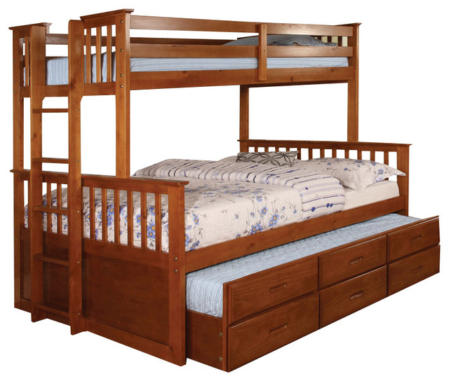 Chaparral Extra Long Twin Over Queen Combo Bunk Bed Transitional Bunk Beds By Totally Kids Fun Furniture Toys