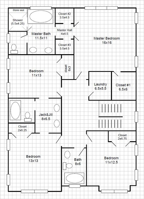 Walk Through Closet To Bathroom revamp master bathroom layout to create usable closets: lose the tub?