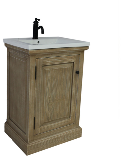 Rustic Style 24 Inch Bathroom Vanity With Ceramic Single