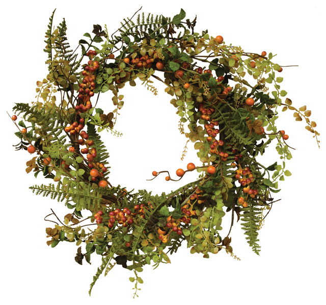 """Fall Berry Cluster Wreath, 24""""."""