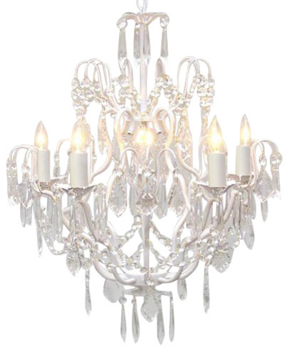 Wrought Iron and Crystal Chandelier, White traditional-chandeliers